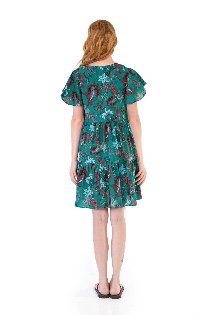 womens Ava Dress - Tropical Green back
