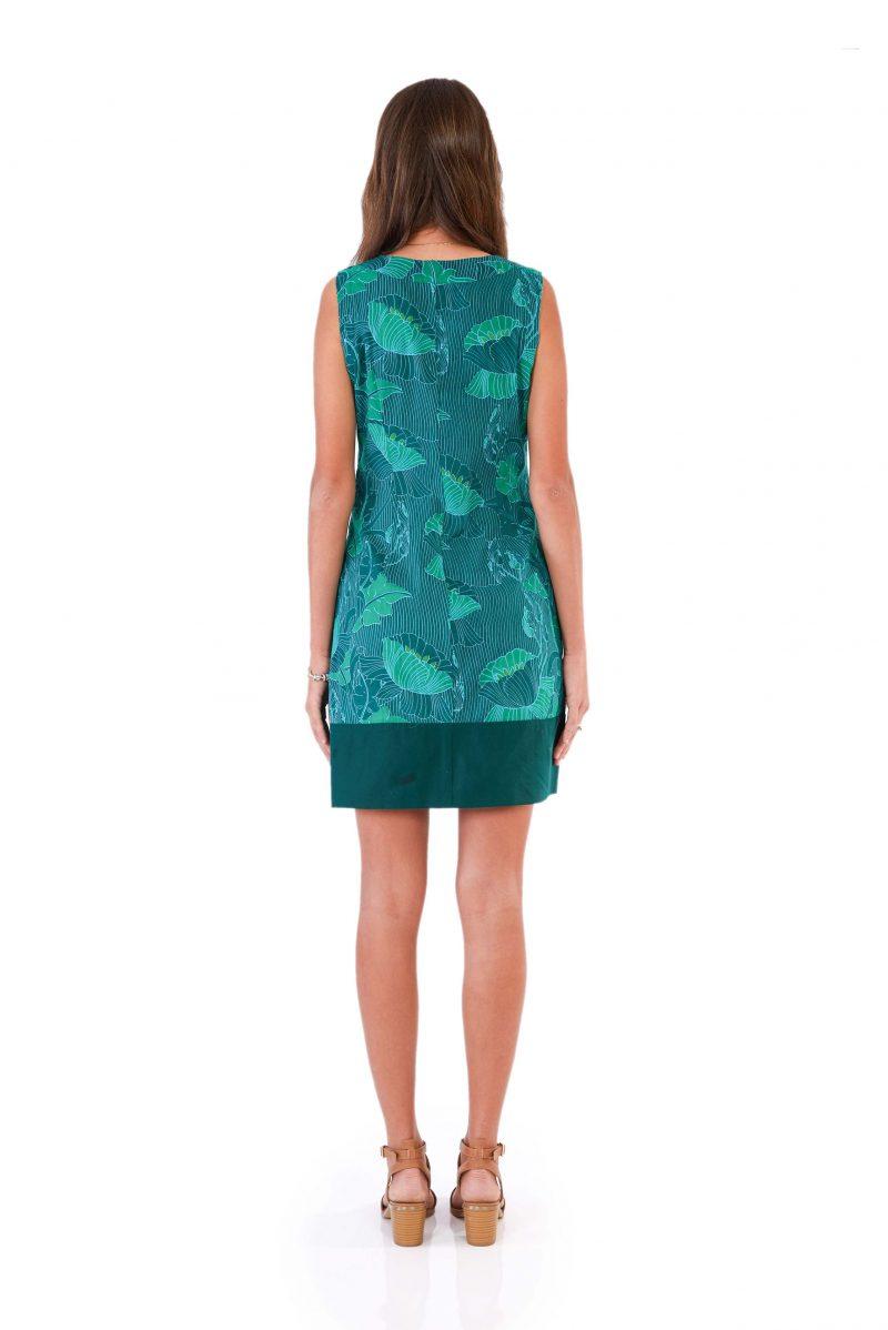 womens Millie Dress - Lotus Green back
