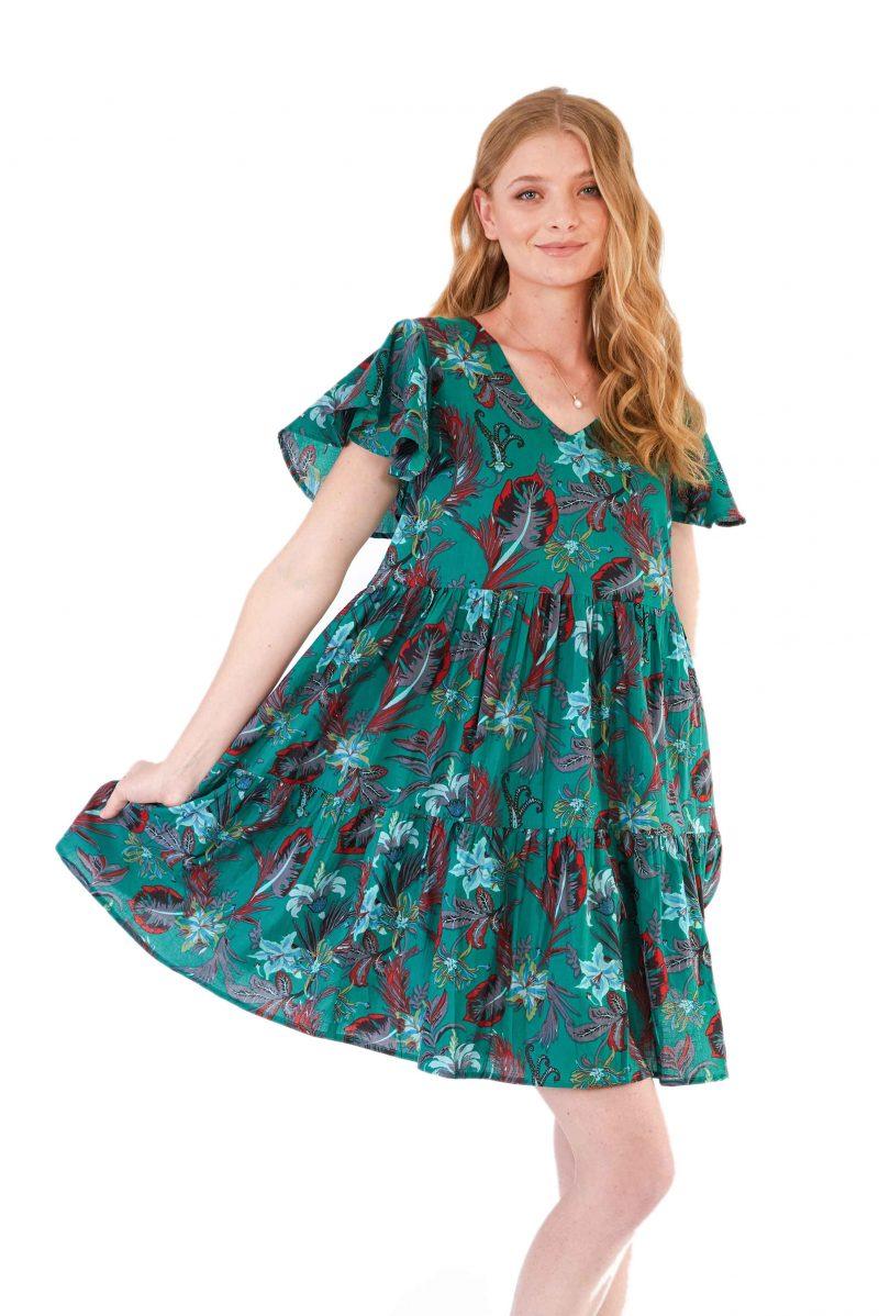 womens Ava Dress - Tropical Green