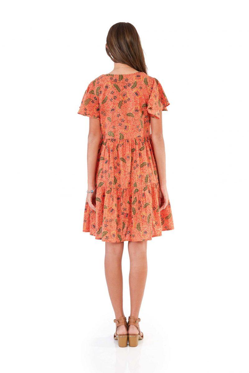 womens Ava Dress - Bali Coral back