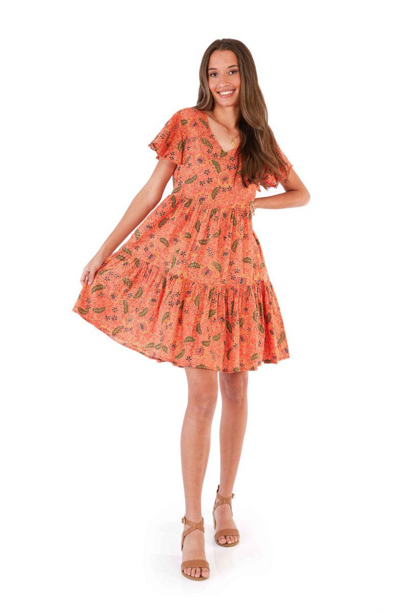 womens Ava Dress - Bali Coral front