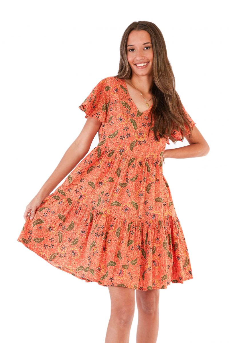 womens Ava Dress - Bali Coral