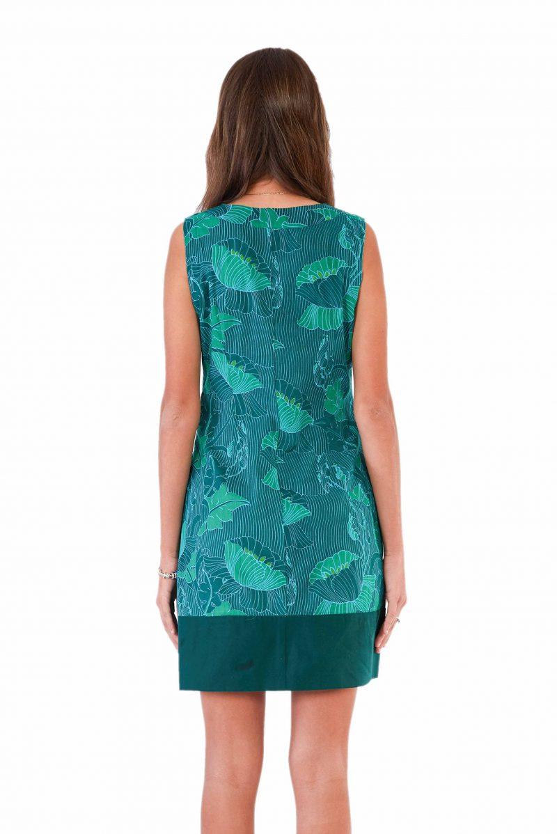 womens Millie Dress - Lotus Green back close