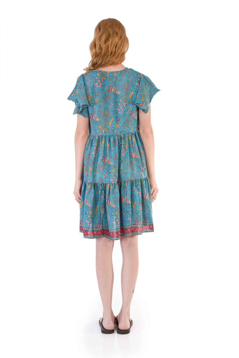 womens Ava Dress - Blue Butterfly back