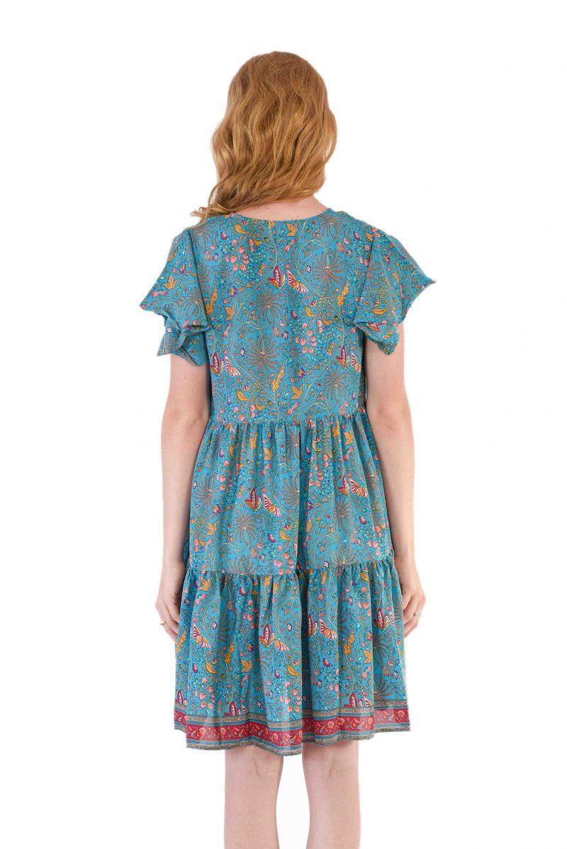 womens Ava Dress - Blue Butterfly back close