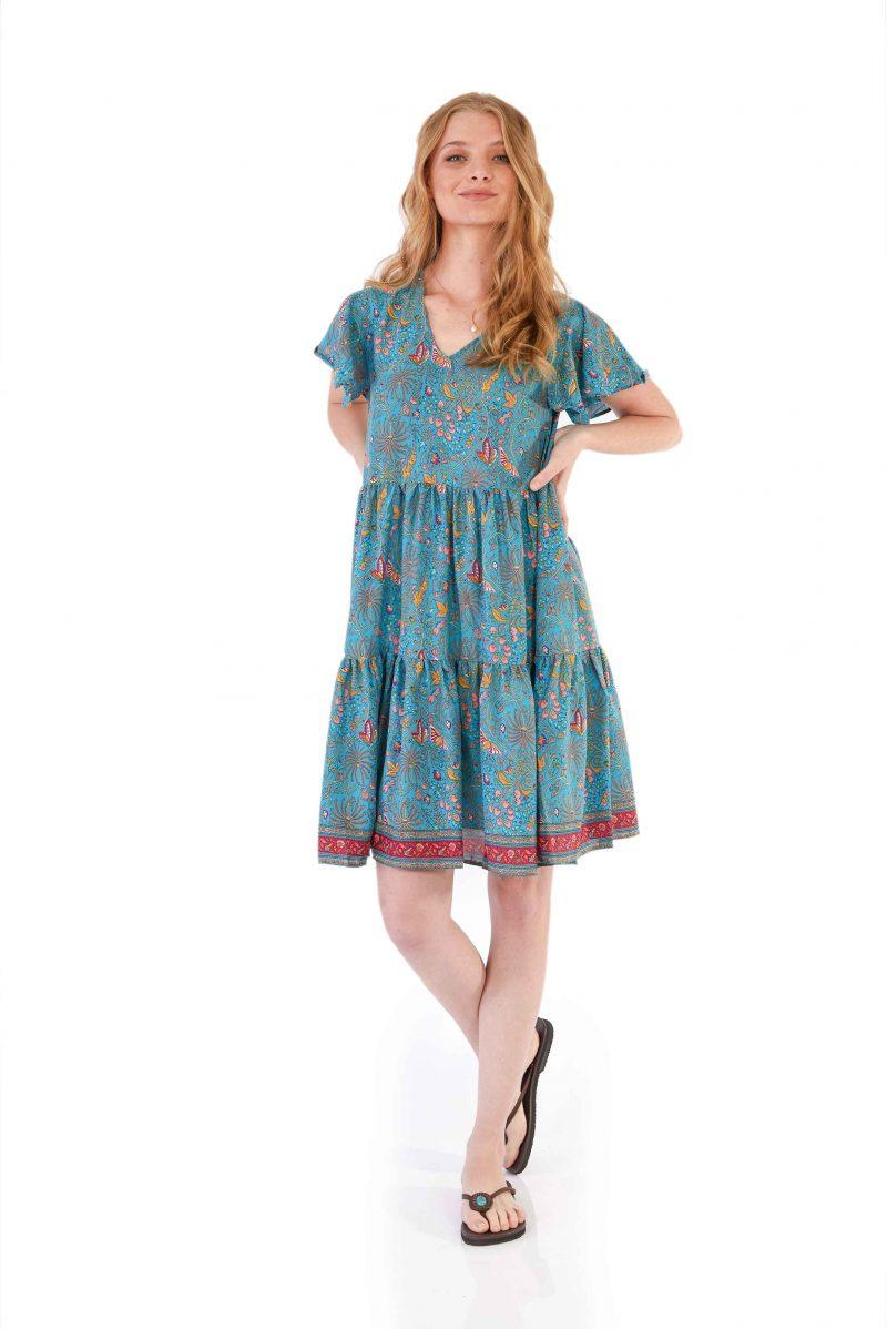 womens Ava Dress - Blue Butterfly front