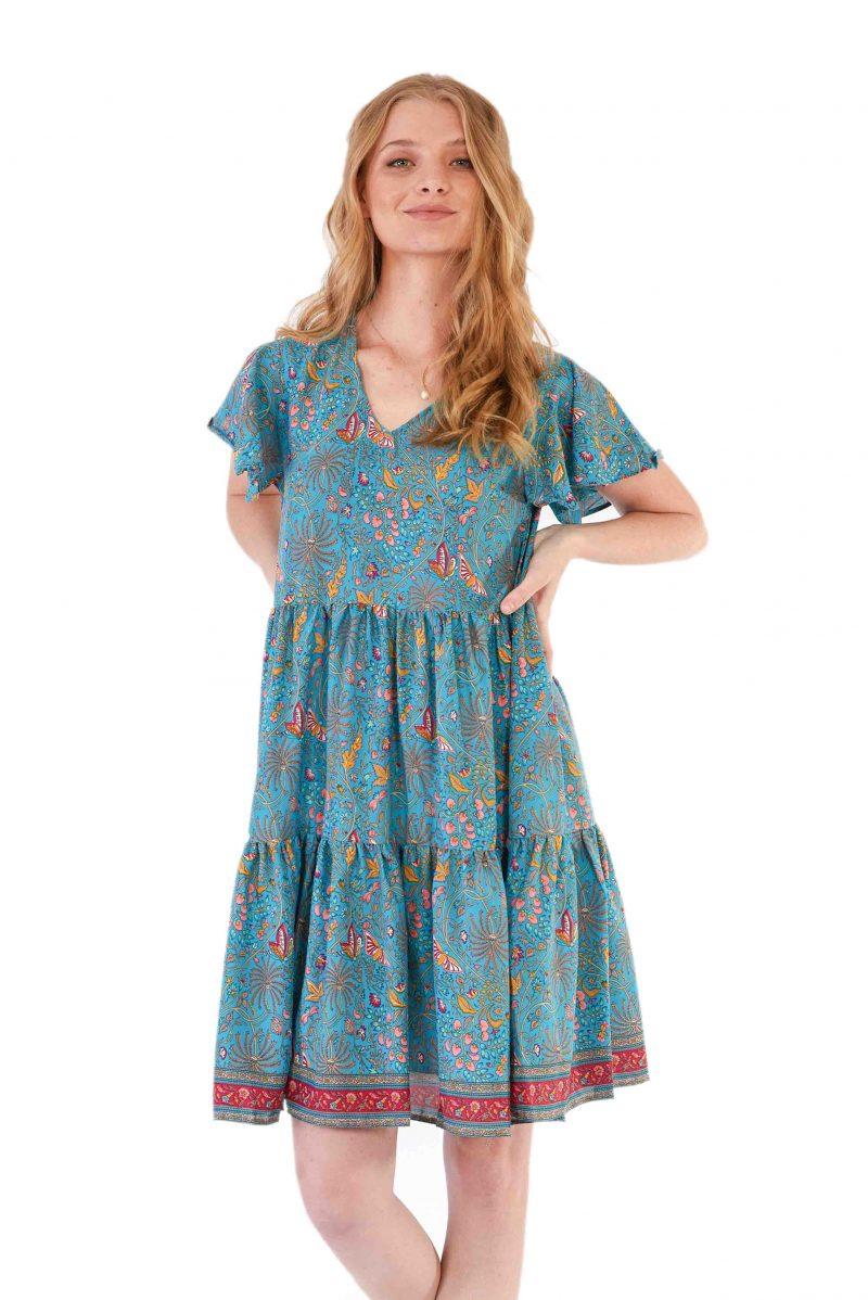womens Ava Dress - Blue Butterfly