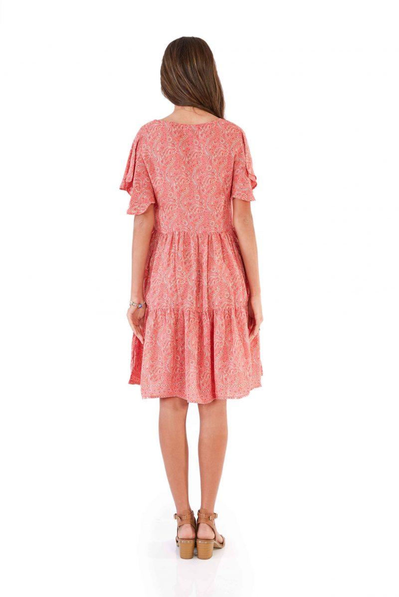 womens Ava Dress - Paisley Pink back close