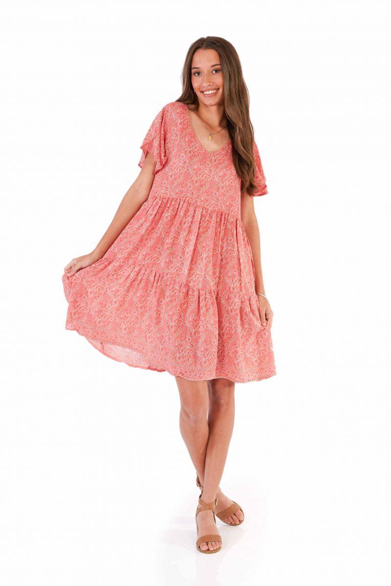 womens Ava Dress - Paisley Pink front