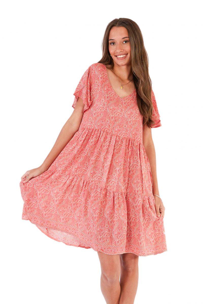 womens Ava Dress - Paisley Pink