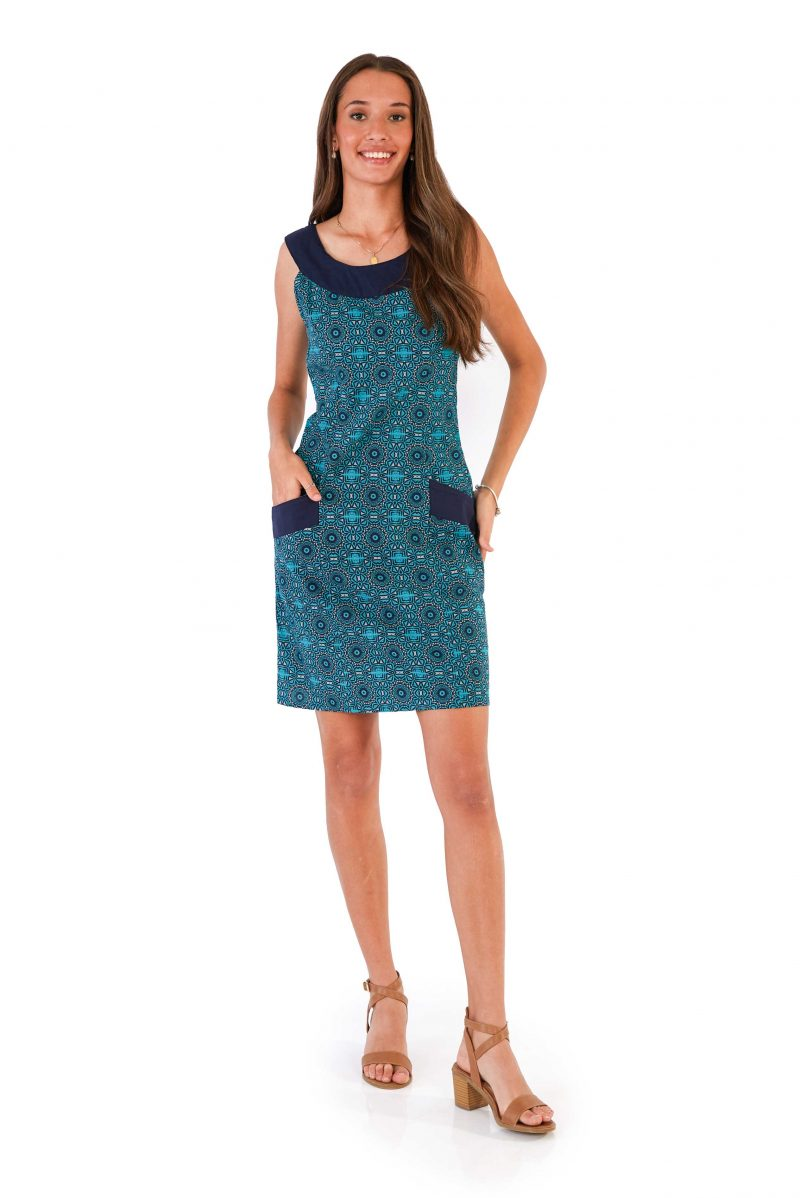 womens Koffie Dress - Aztec Blue front