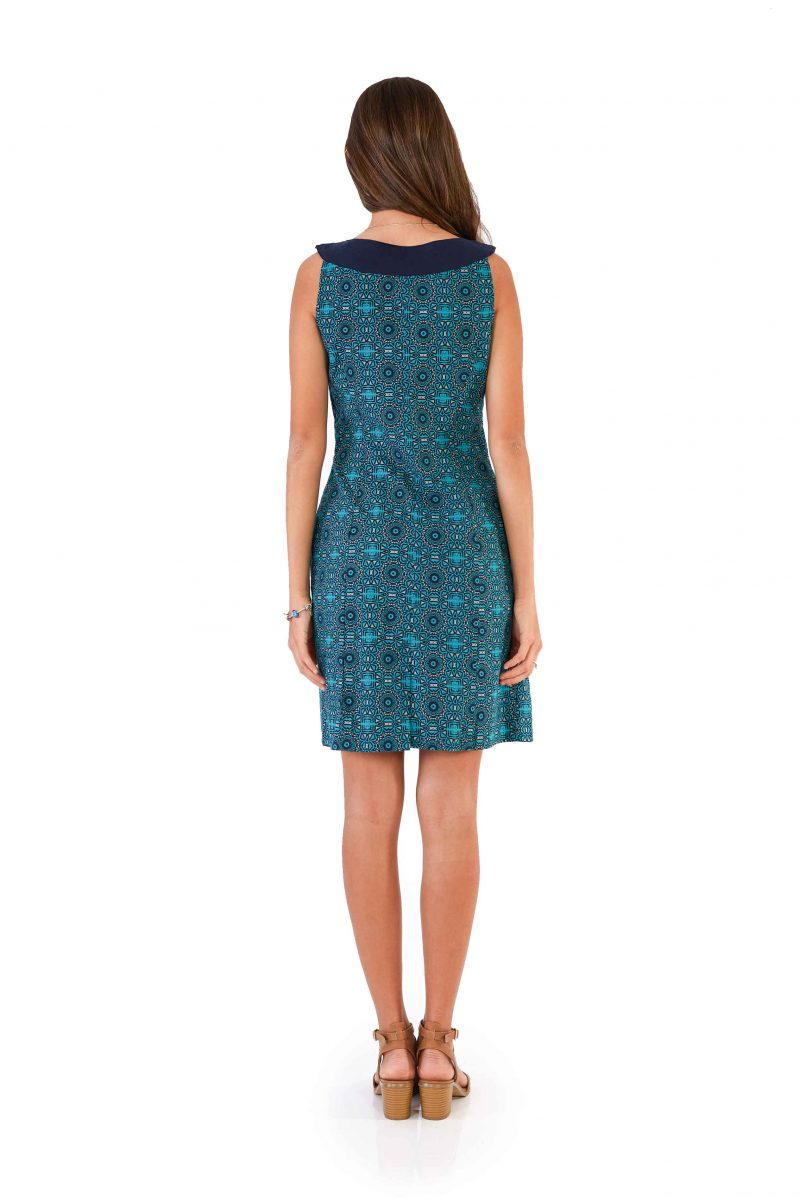 womens Koffie Dress - Aztec Blue back