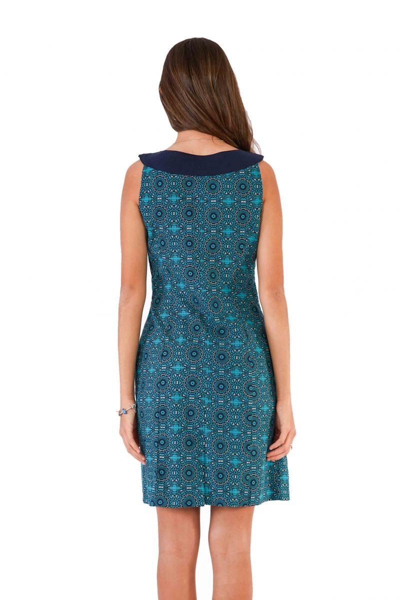 womens Koffie Dress - Aztec Blue back close