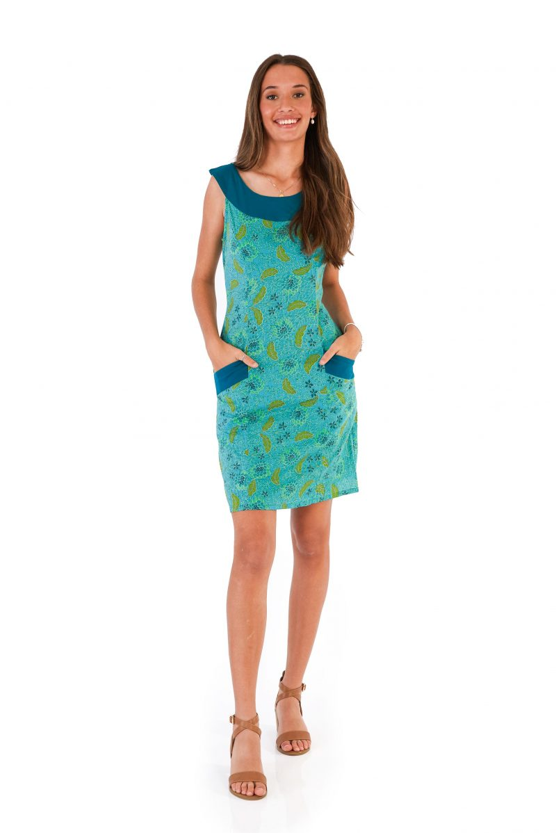 womens Koffie Dress - Bali Blue front
