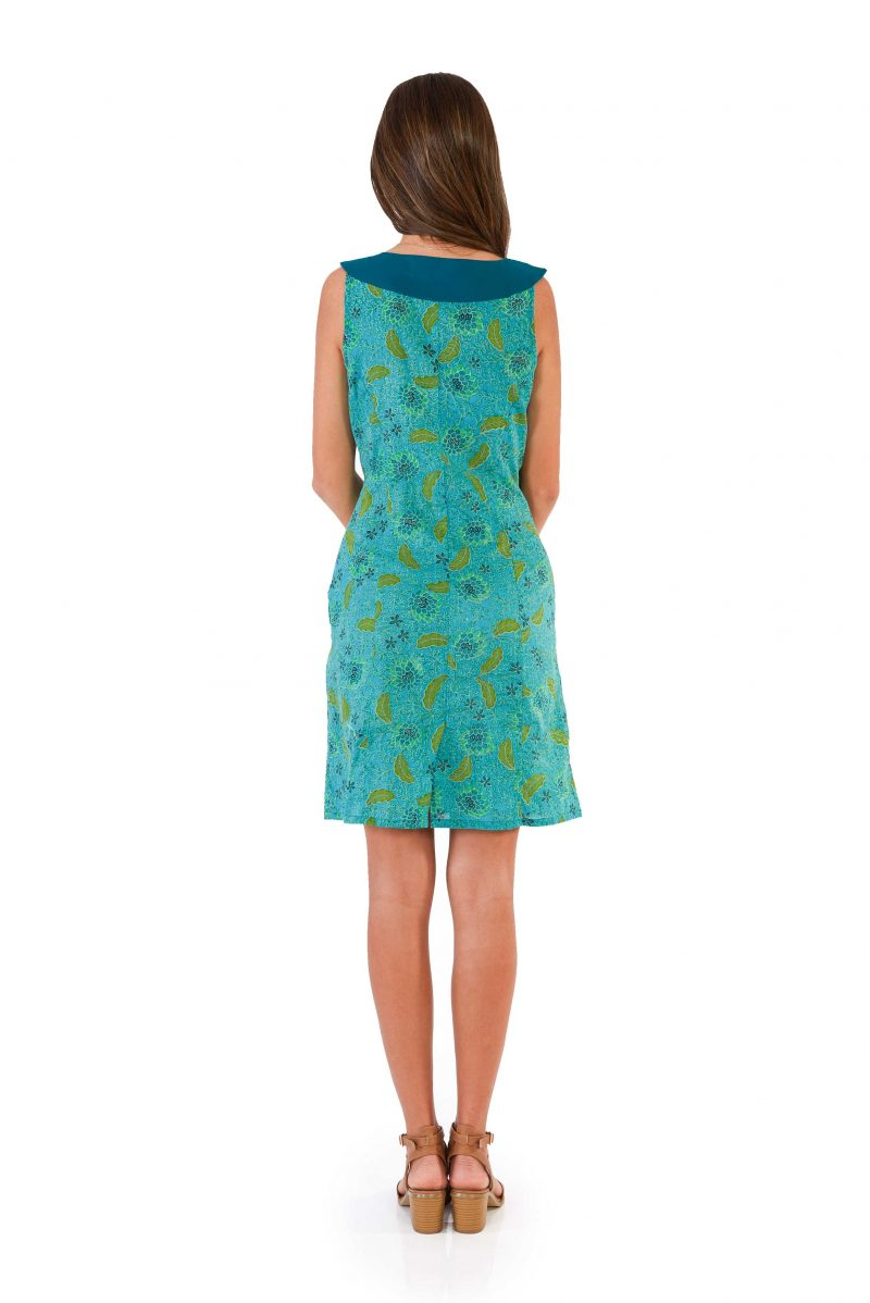 womens Koffie Dress - Bali Blue back