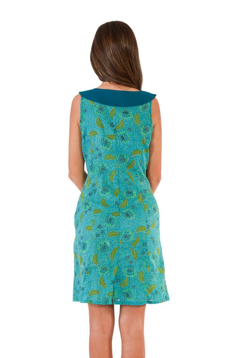 womens Koffie Dress - Bali Blue back close
