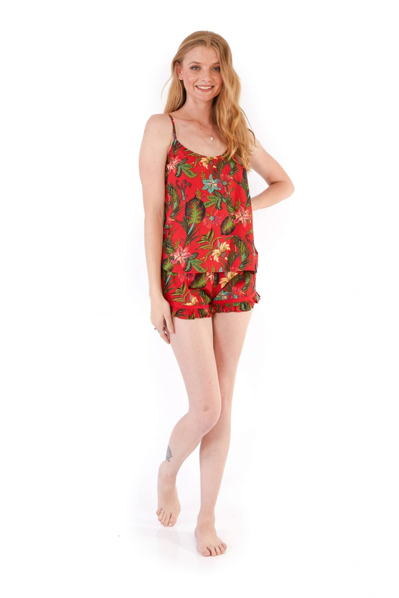 womens PJ Set - Tropical Red front
