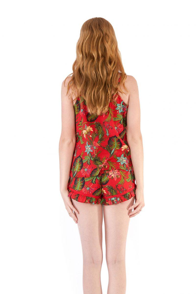 womens PJ Set - Tropical Red back close