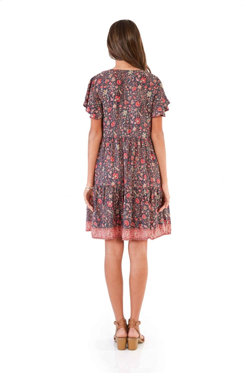 womens Ava Dress - Floral Pink back