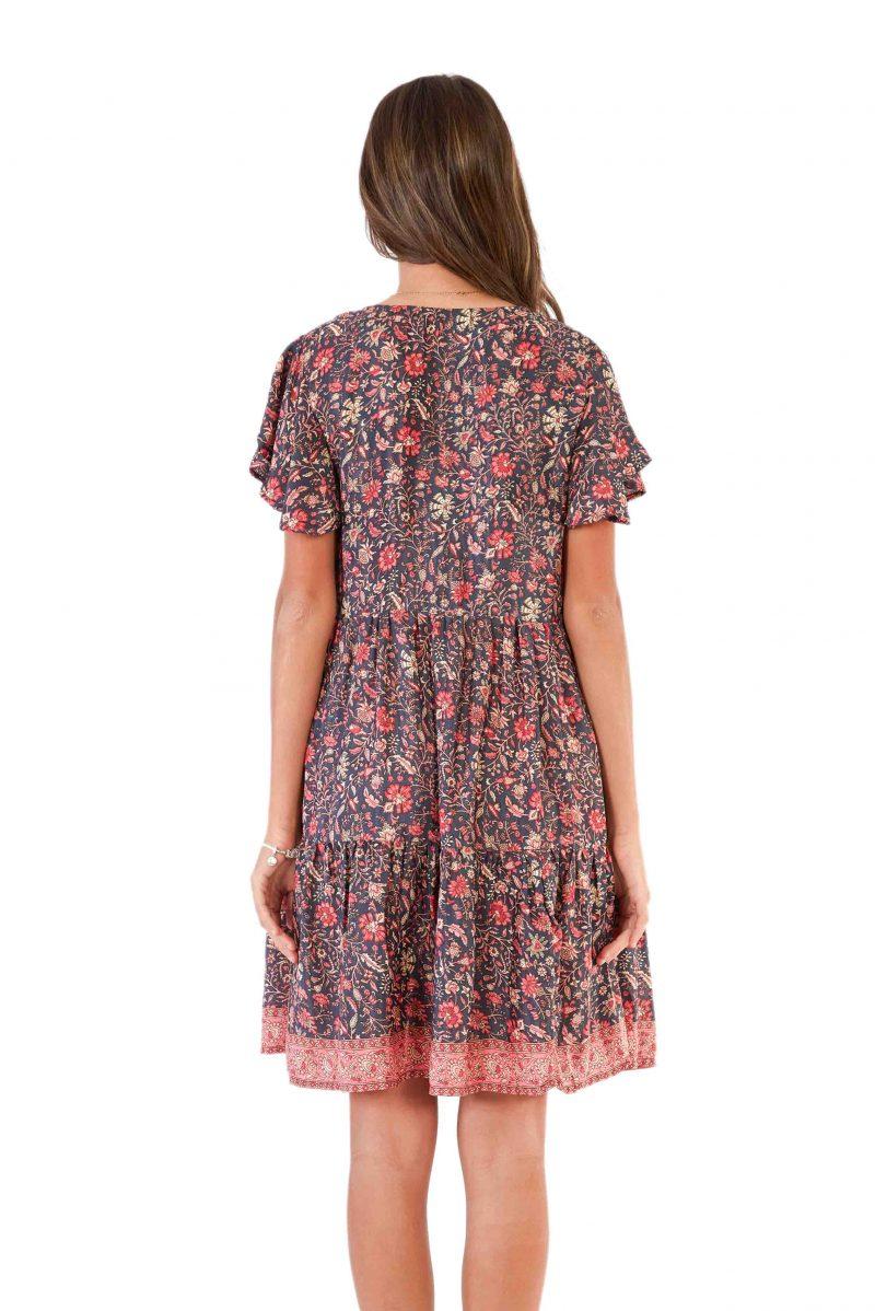 womens Ava Dress - Floral Pink back close