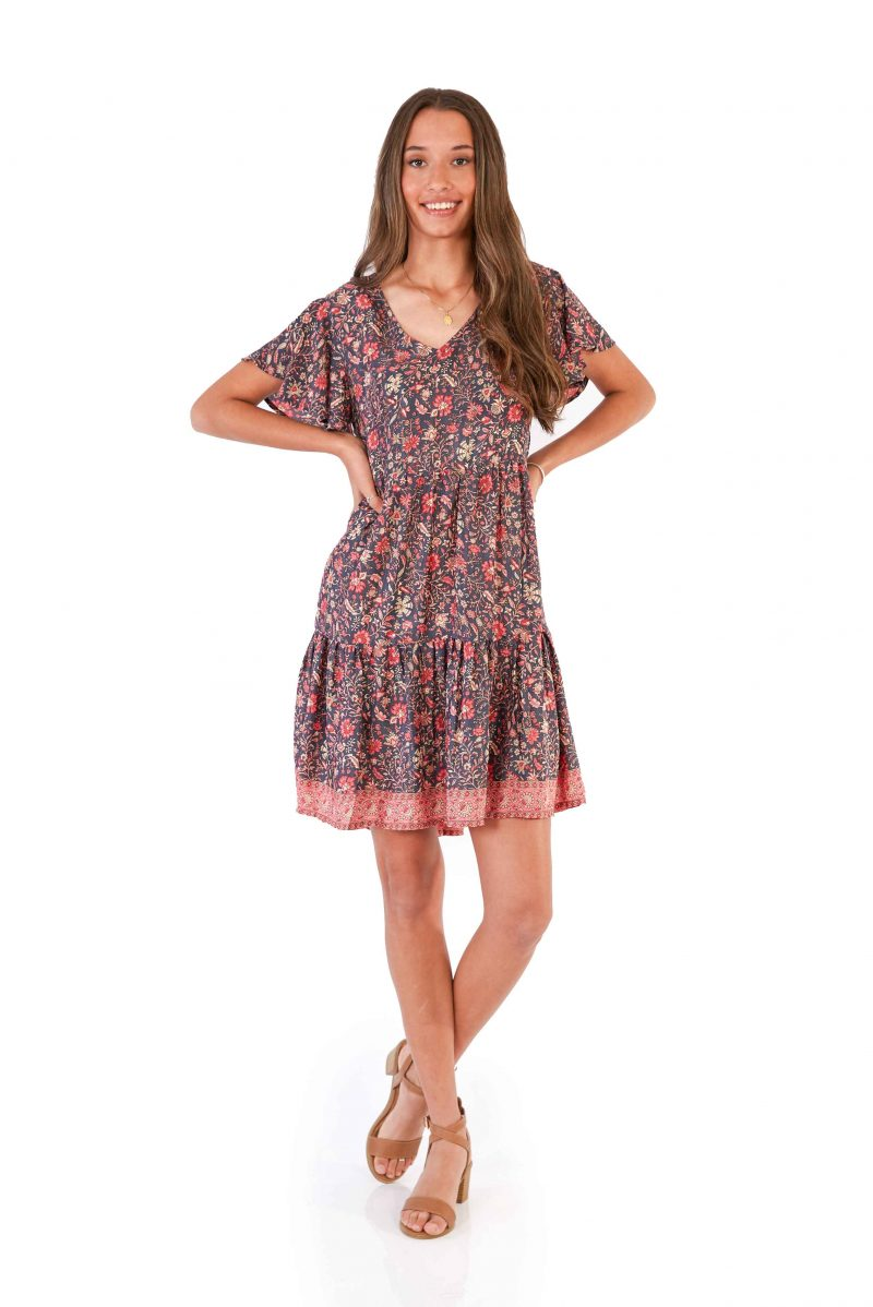 womens Ava Dress - Floral Pink front