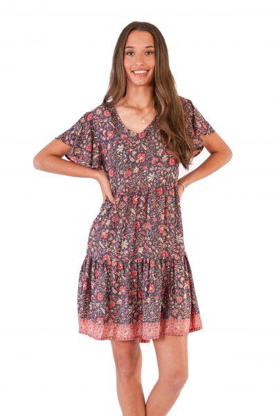 womens Ava Dress - Floral Pink