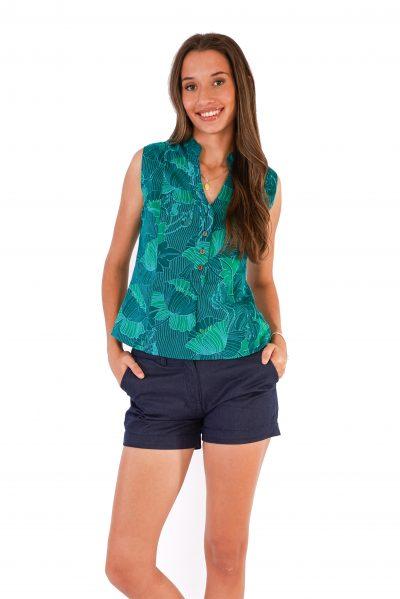 womens Zoe Top - Lotus Green