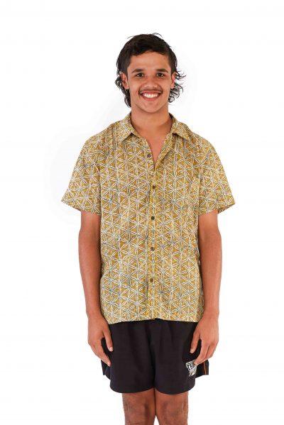 Men's Shirt - Mustard Block Print front