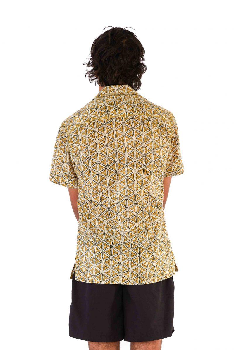 Men's Shirt - Mustard Block Print back