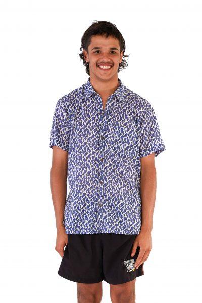 Men's Shirt - White Blue Fish front