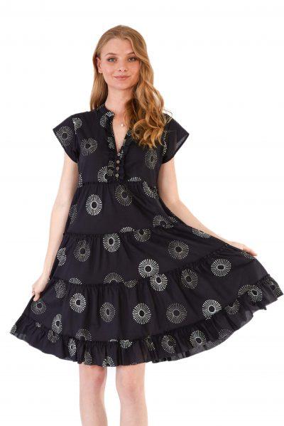 womens Amore Dress - Black Sunflower front close