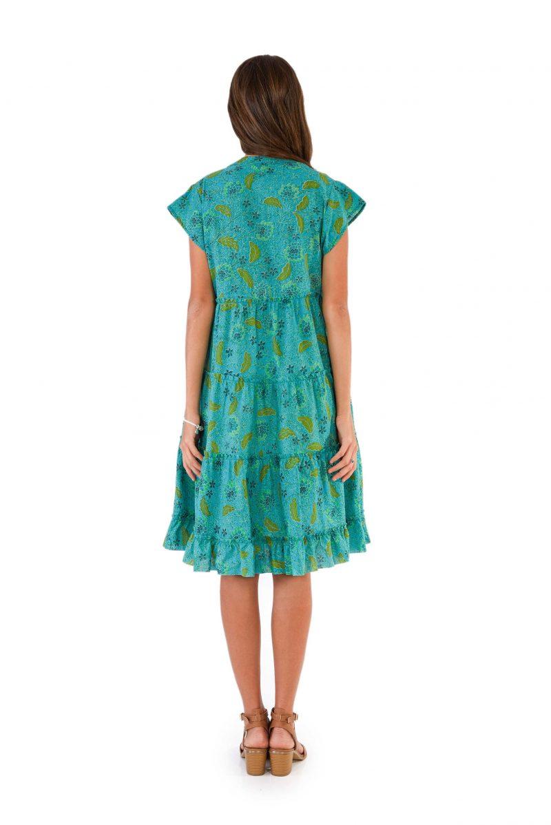 womens Amore Dress - Bali Blue back