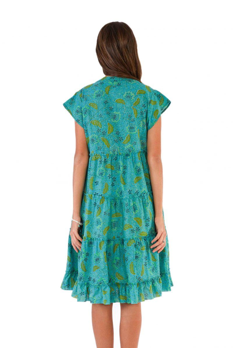 womens Amore Dress - Bali Blue back close
