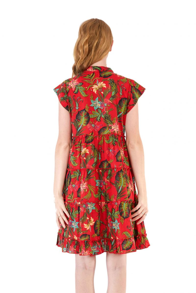 womens Amore Dress - Tropical Red back close
