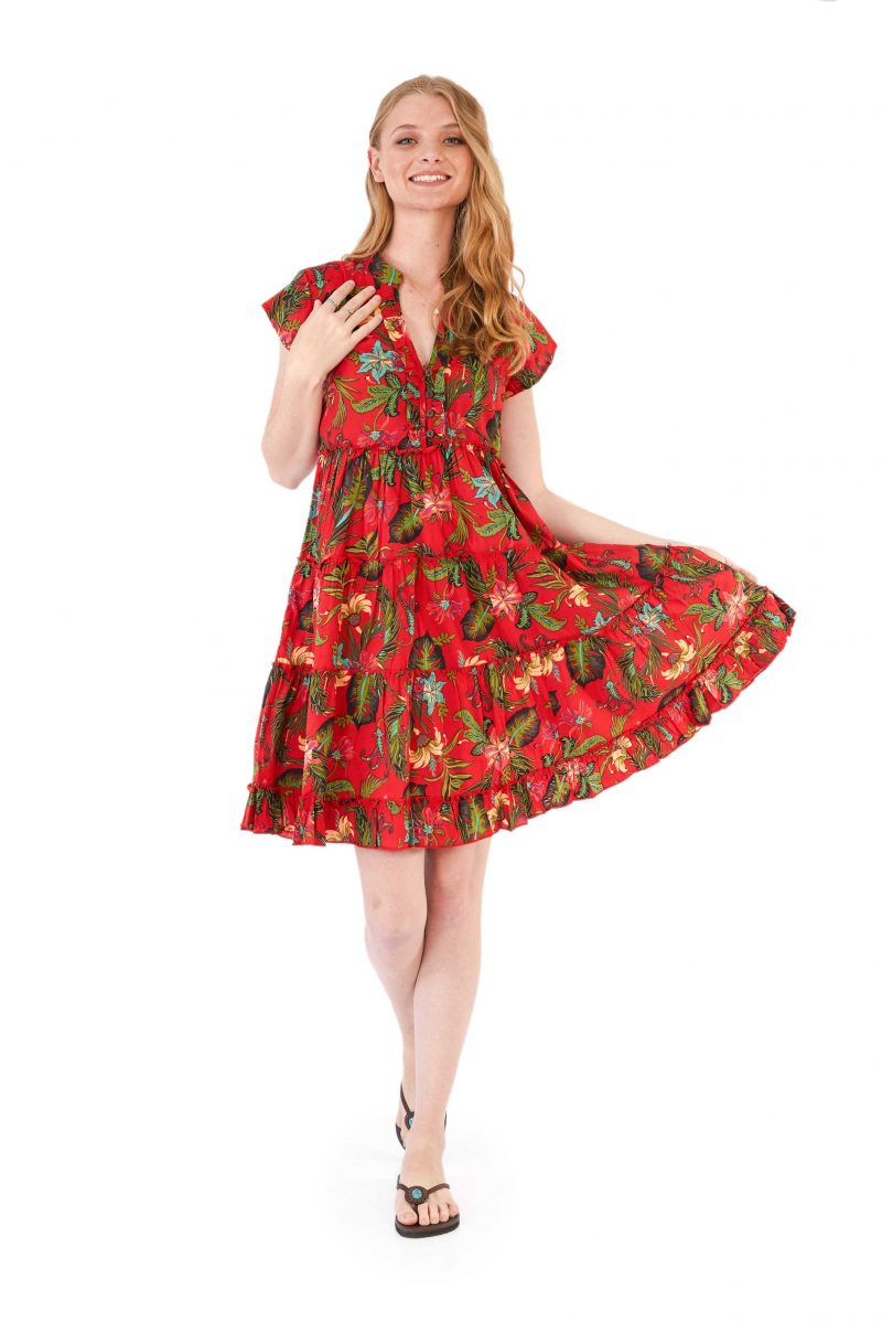 womens Amore Dress - Tropical Red front