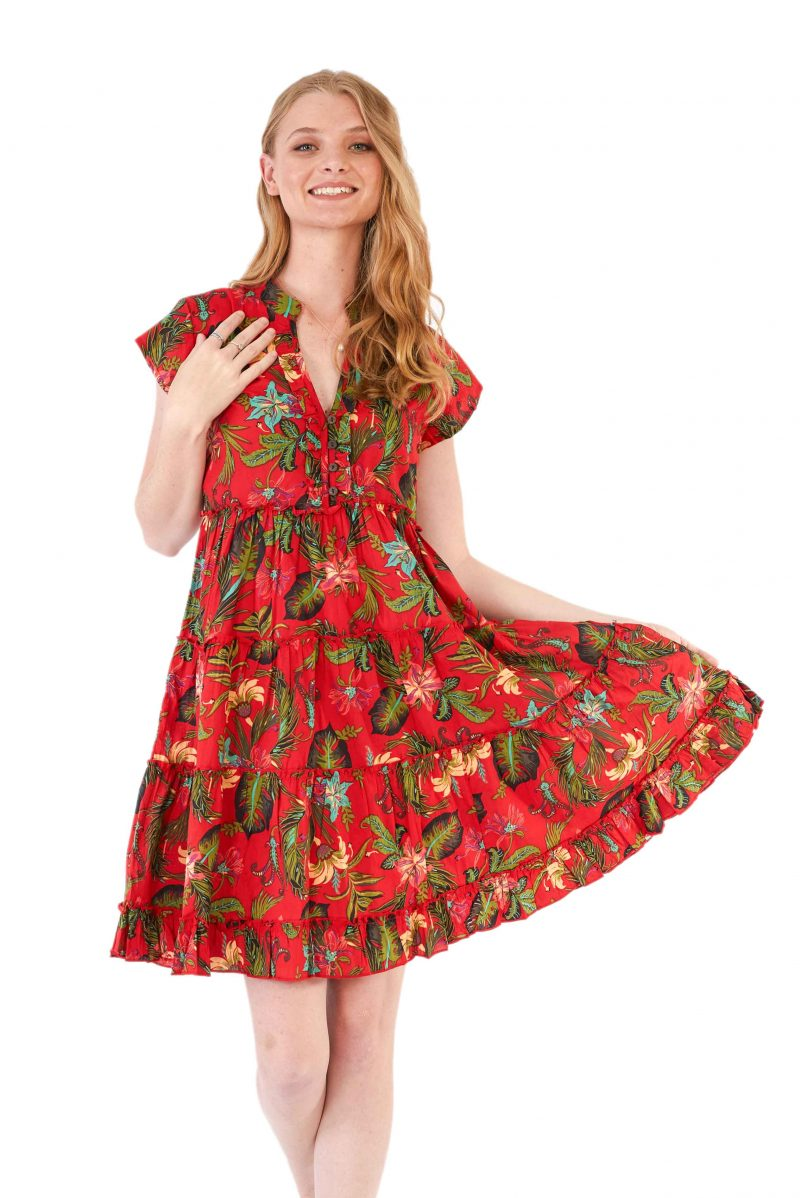 womens Amore Dress - Tropical Red