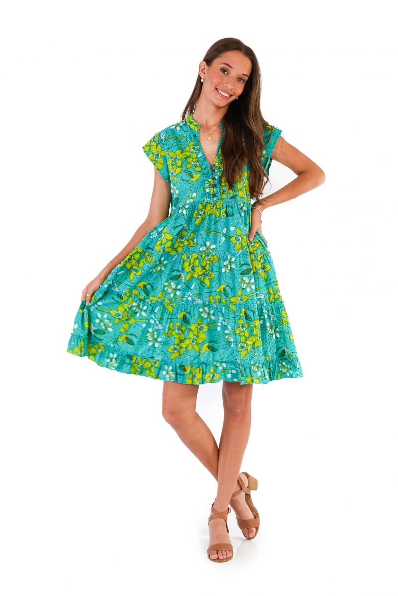 womens Amore Dress - Morning Bloom Green front