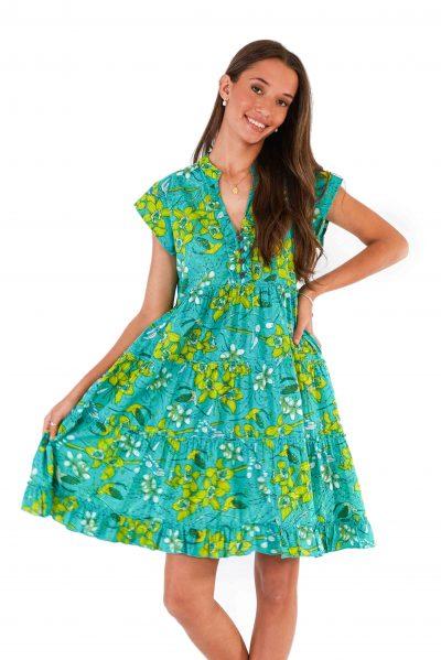 womens Amore Dress - Morning Bloom Green