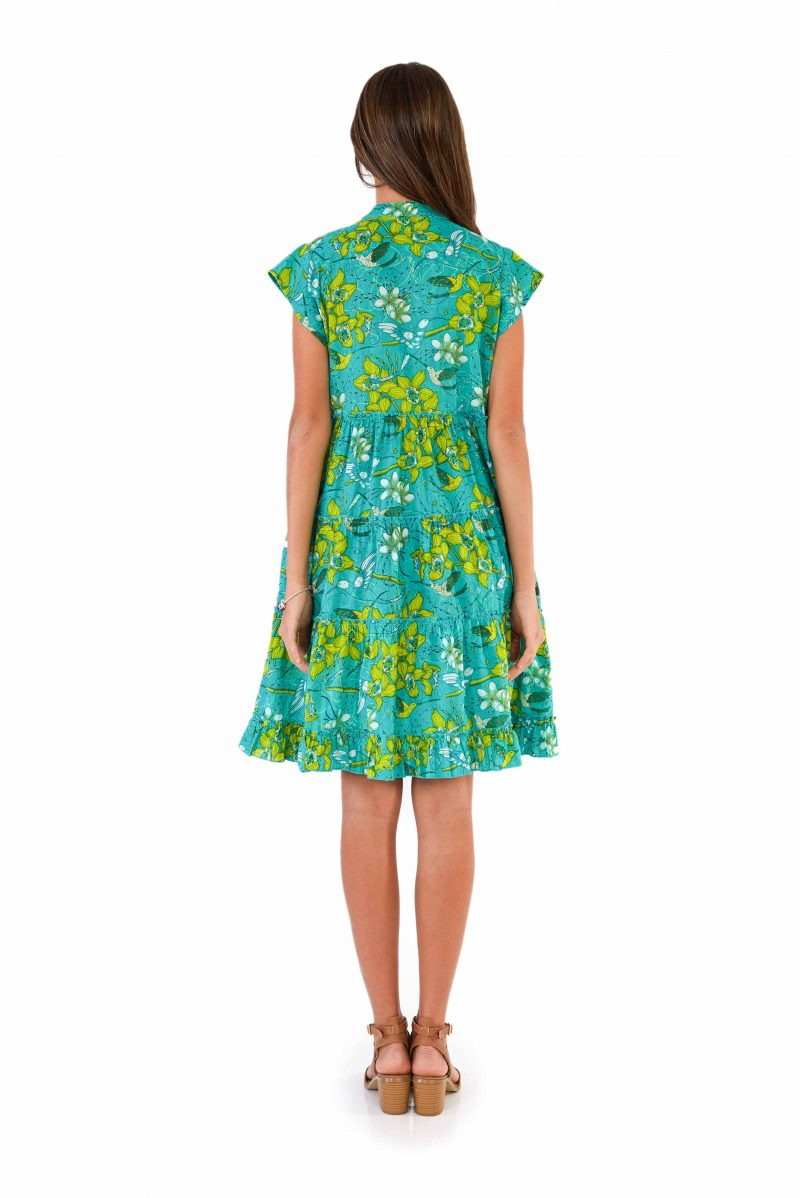 womens Amore Dress - Morning Bloom Green back