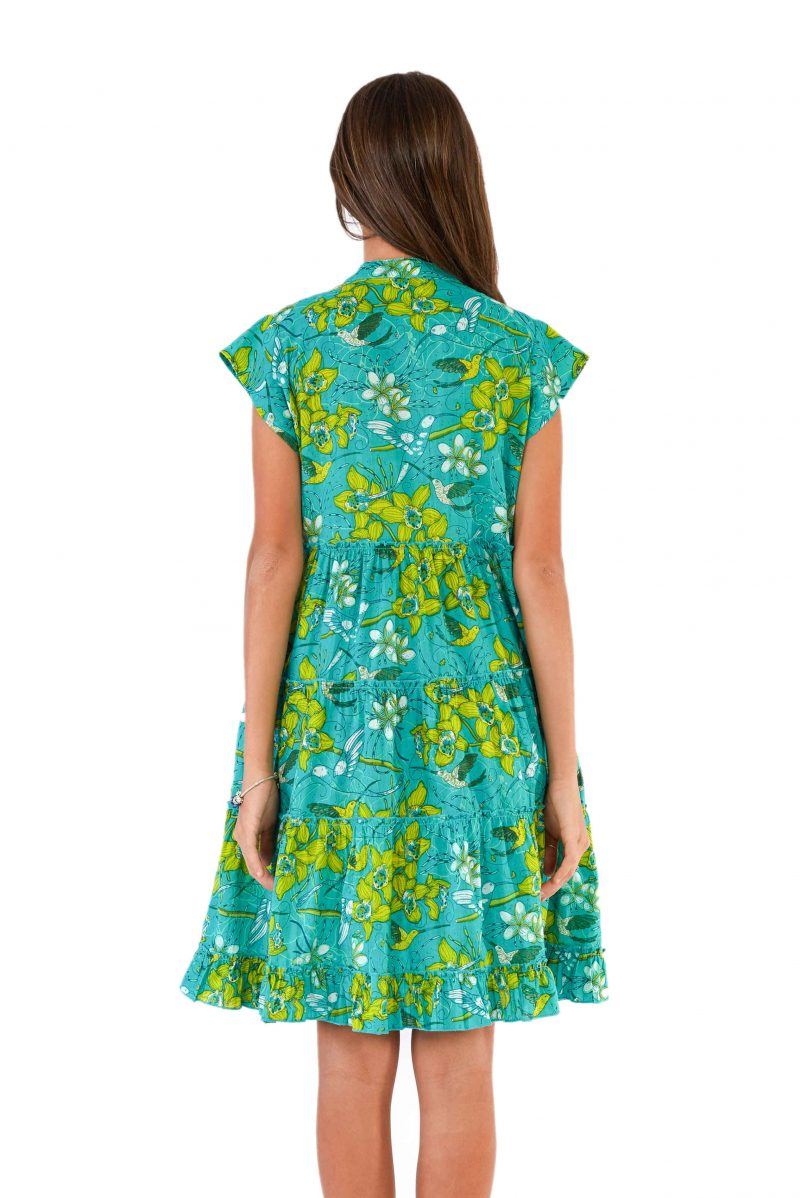 womens Amore Dress - Morning Bloom Green back close