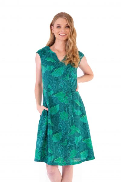 Womens Gracie Dress - Lotus Green front close