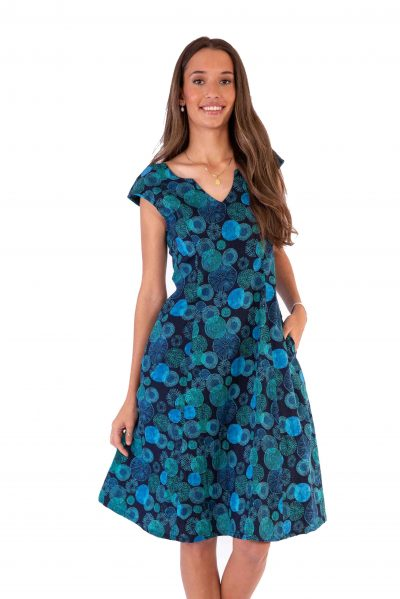 Womesn Gracie Dress - Navy Sea Urchin front close