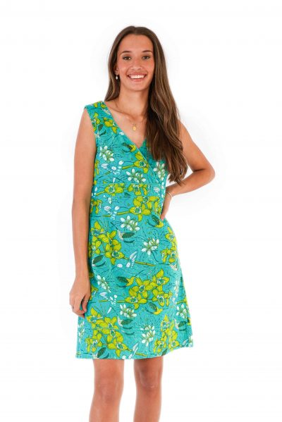 womens Charly Dress - Morning Bloom Green