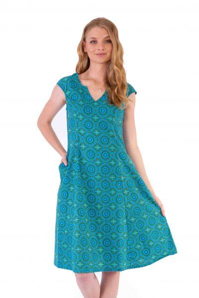 Womens Gracie Dress - Aztec Turquoise front close