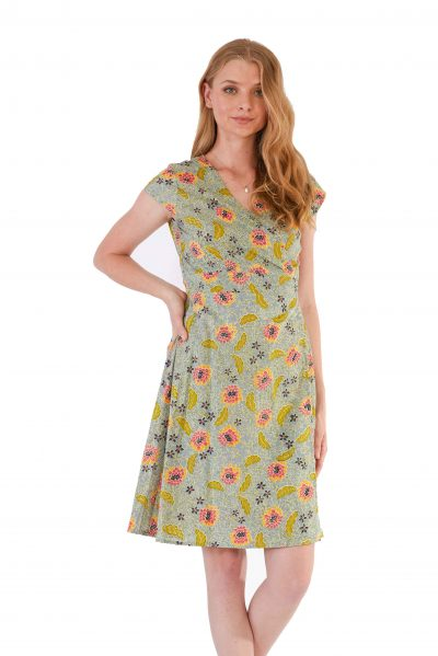 womens Rose Wrap Dress - Bali Denim