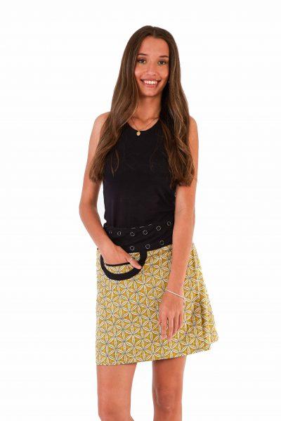 Womens New Energy Reversible Skirt Short - Chrysanthemum / Mustard Block Print front close