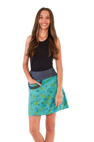 Womens New Energy Reversible Skirt Short - Bali Blue / Aztec Mustard front