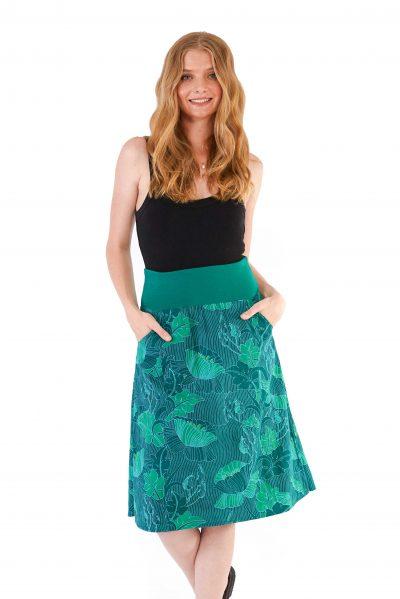 Womens Janaki Reversible Skirt Green front close dark