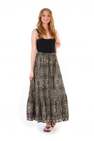 Womens Francesca Skirt - Black Gold front