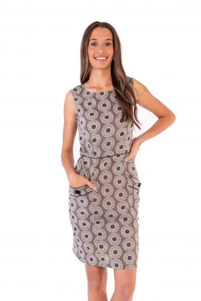 Womens Sydney Dress - Grey Flower front close